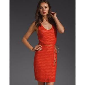 Sanctuary Red Orange Crochet Lace Knit Mini Dress